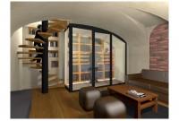 Rendu 3D : escalier, cave à vins, salon TV