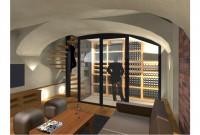 Rendu 3D : salon TV, escalier et cave à vins