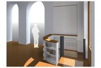 Etude 3D: intégration de l'escalier au RDC par une bibliothèque basse
