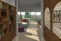 dégagement espace bibliothèque vue sur l'extension de la véranda