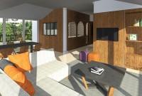 espaces salon et salle à manger dans l'extension de la véranda