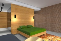 Rendu 3D - Proposition 1 - vue sur tête de lit et dressing en fond