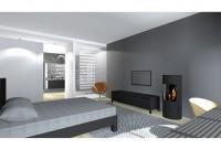 Rendu 3D - Proposition 2 - vue sur lit et poêle, accés SDB