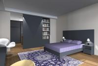 Rendu 3D - proposition 3 - vue sur tête de lit, porte coulissante, bibliothèque